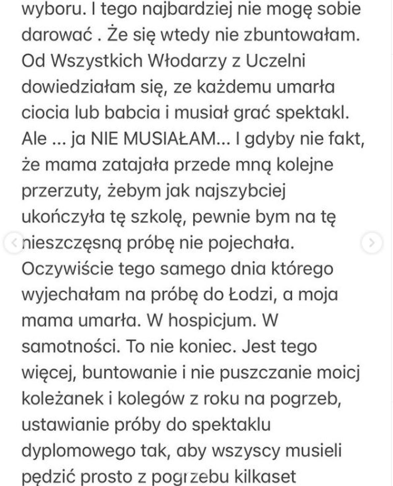 Joanna Koroniewska o traumatycznych przeżyciach na łódzkiej filmówce.
