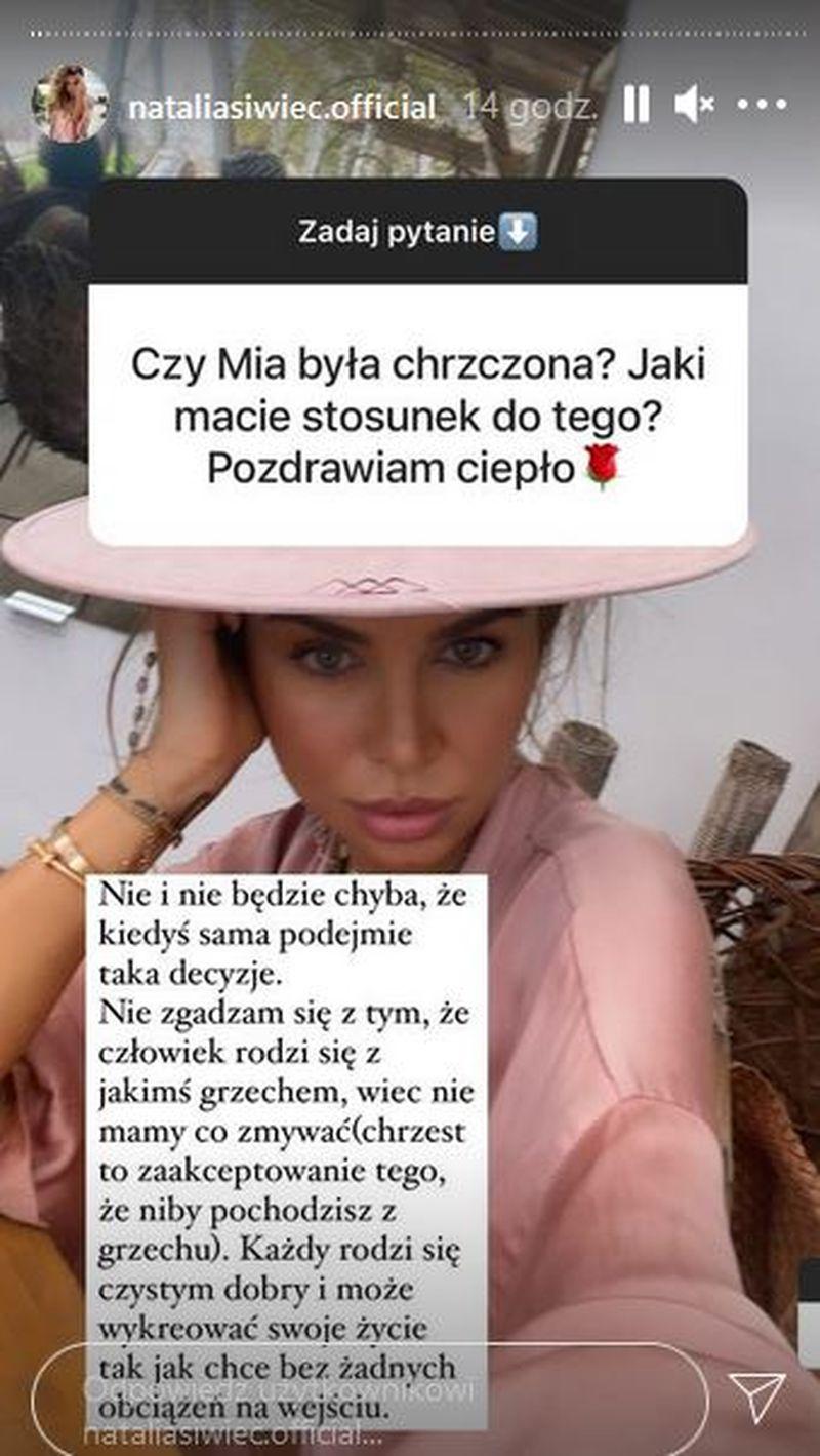 Natalia Siwiec o chrzcie Mii
