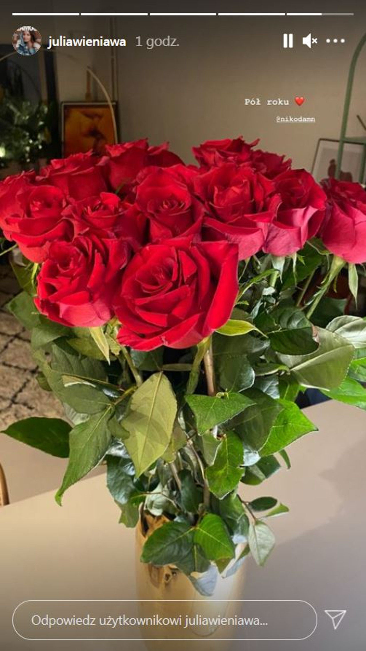 Julia Wieniawa pochwaliła się różami od Nikodema Rozbickiego.