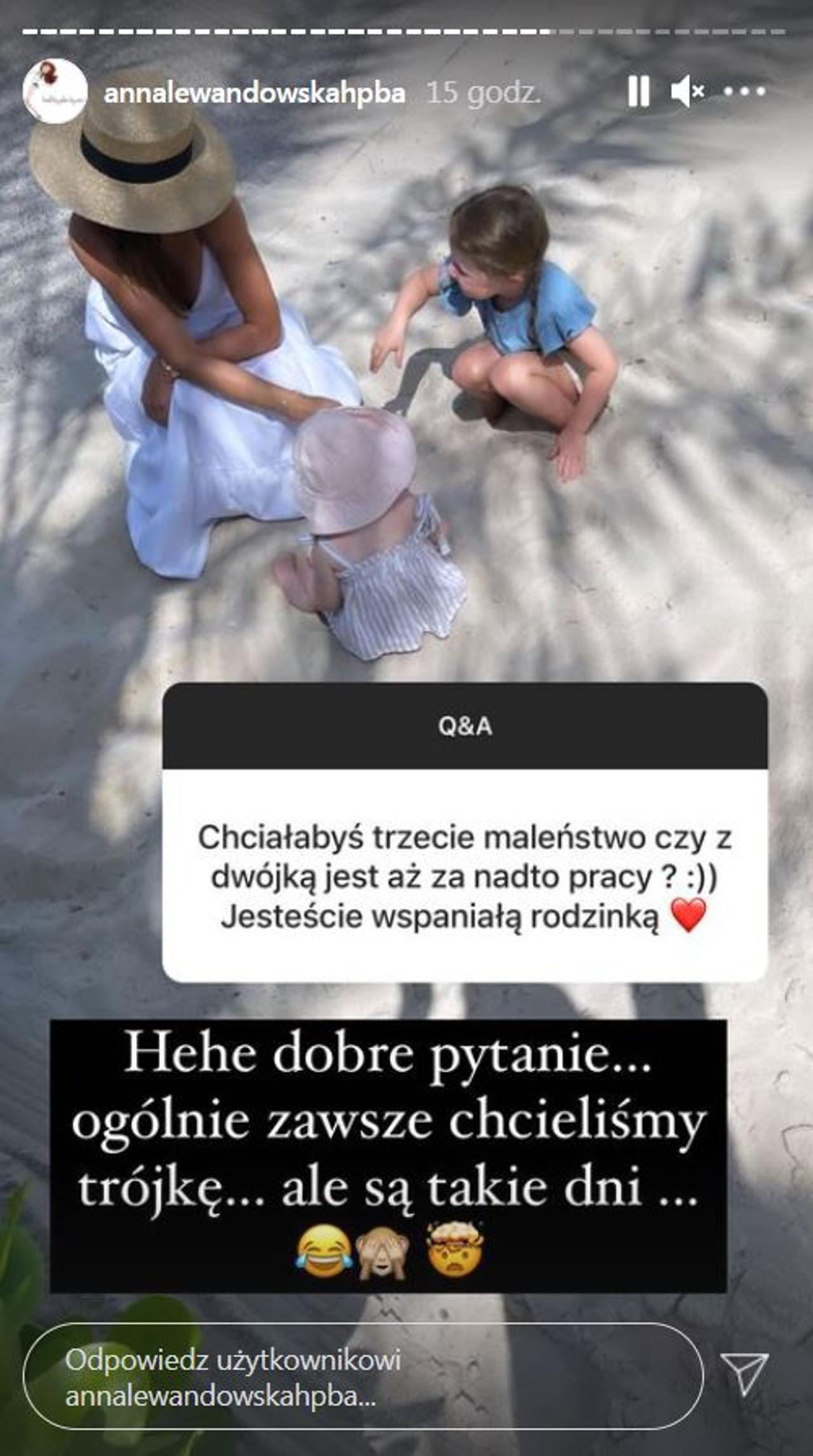 Anna Lewandowska pisze, czy chce mieć więcej dzieci.