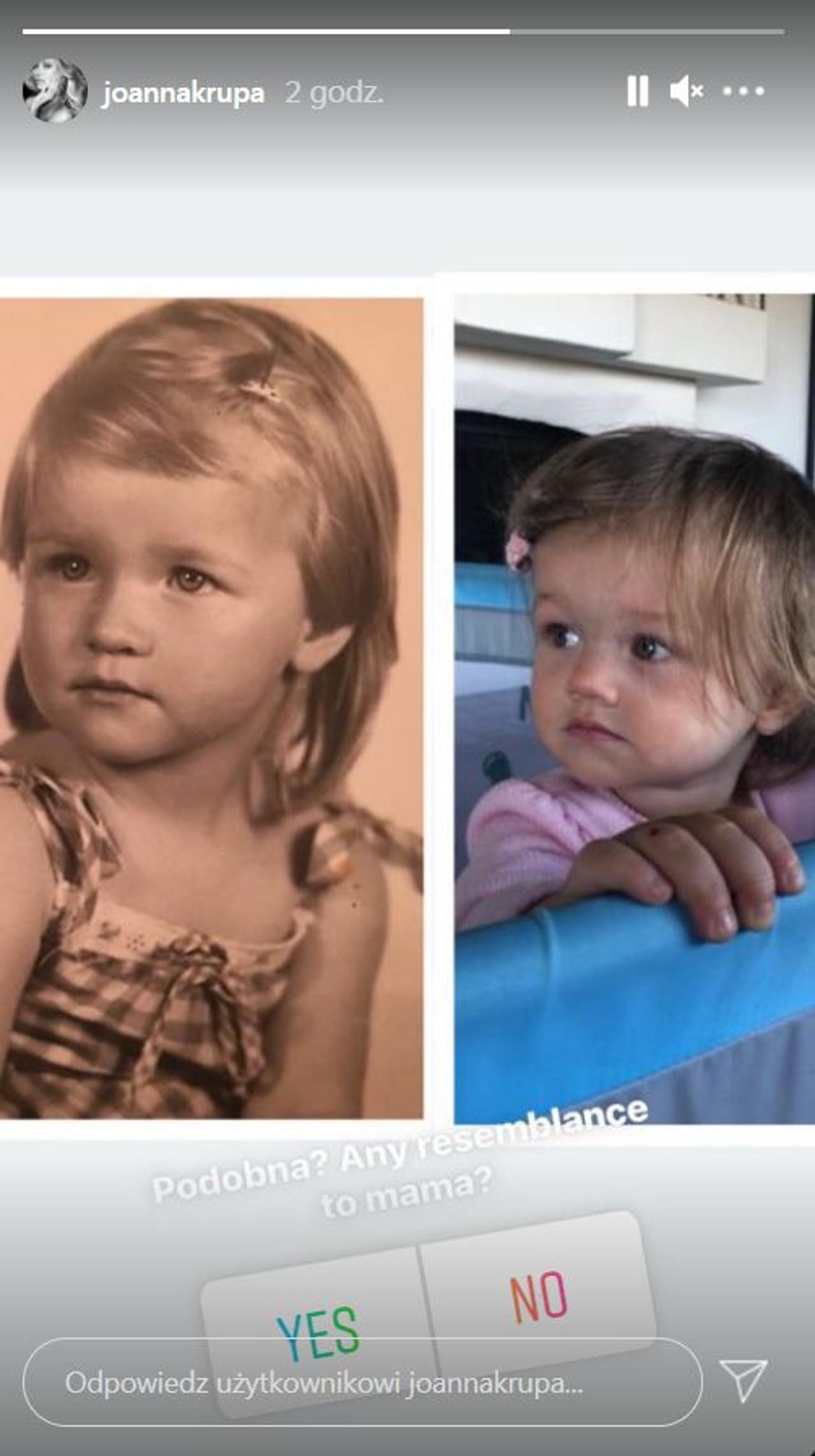 Joanna Krupa w młodości i jej córka Asha.