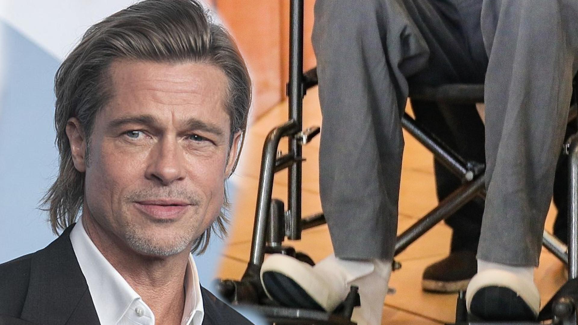 Co się stało?! Brad Pitt na wózku inwalidzkim