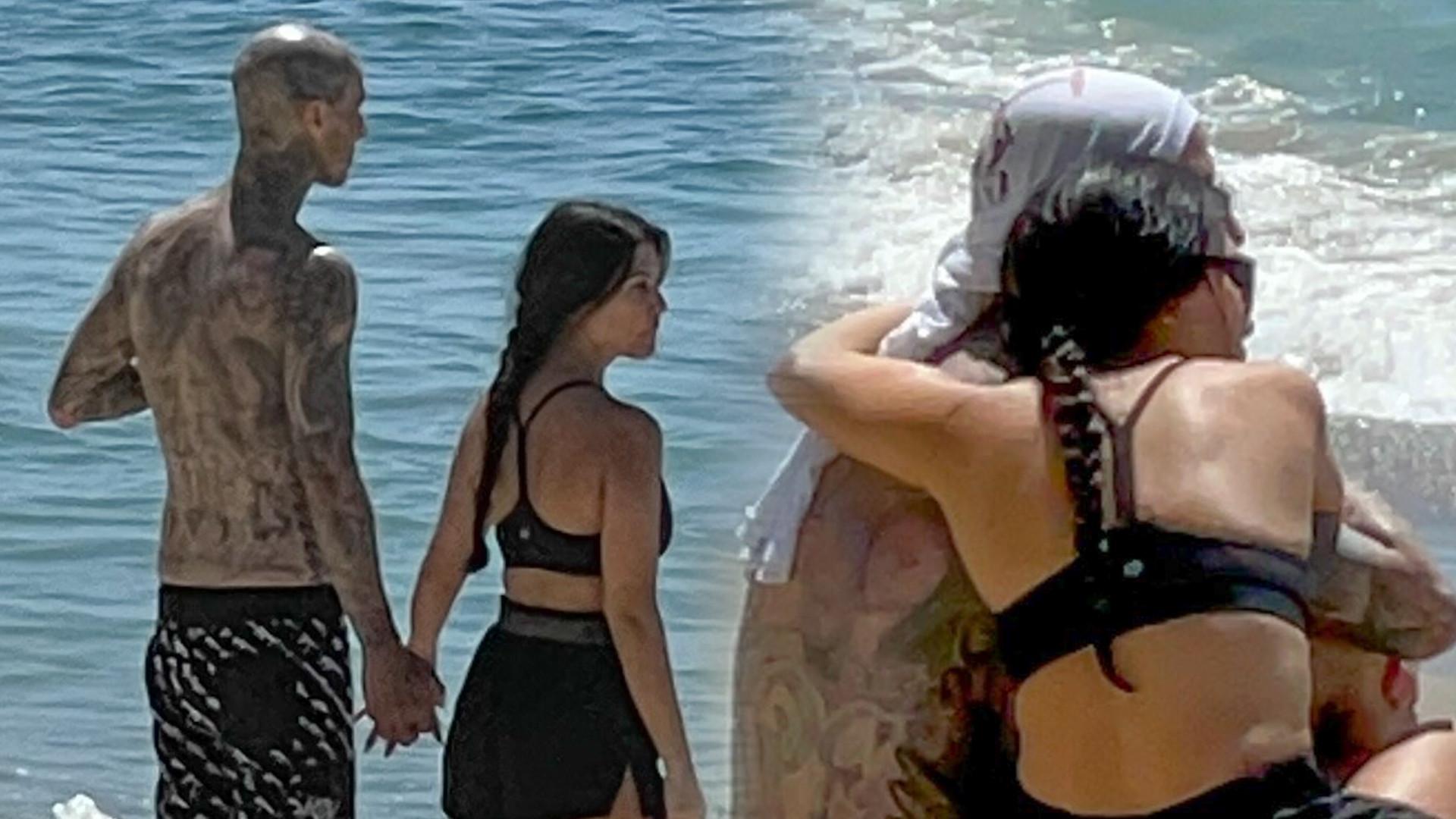 Kourtney Kardashian i Travis Barker obściskują się na plaży (ZDJĘCIA)