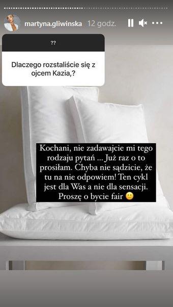 Martyna Gliwińska odpowiada na pytanie o Bieniuka