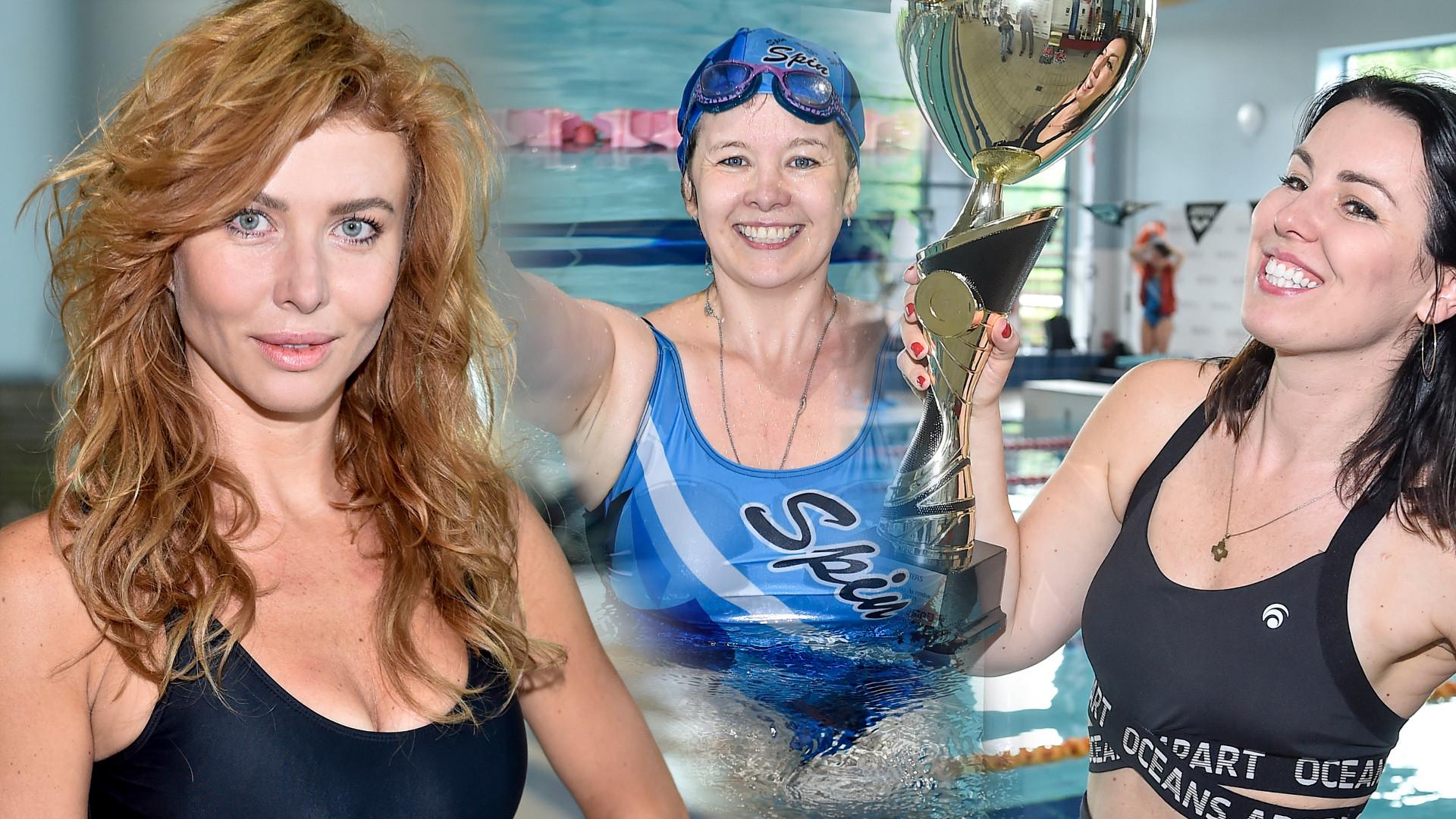 Mistrzostwa Polski Aktorów w Pływaniu. Agata Załęcka zwracała uwagę wyciętym strojem kąpielowym (ZDJĘCIA)