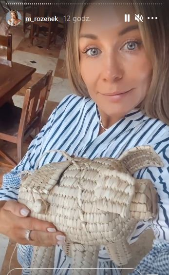 Małgorzata Rozenek z torebką-świnką