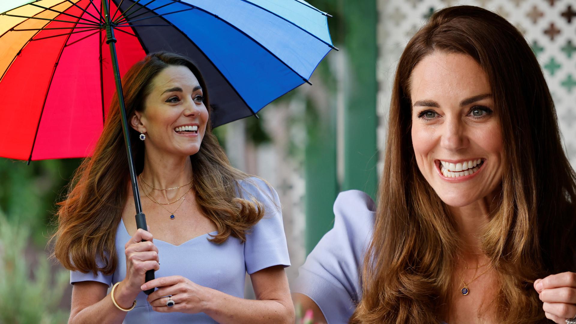 Księżna Kate mknie z tęczową parasolką na spotkanie. TAKIE sukienki powinna nosić! (ZDJĘCIA)
