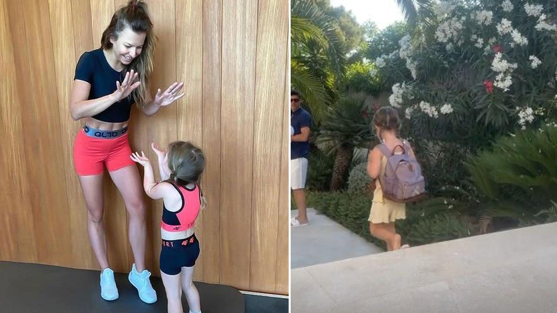 Anna Lewandowska pokazała Klarę idącą do przedszkola. Odprowadza ją Robert