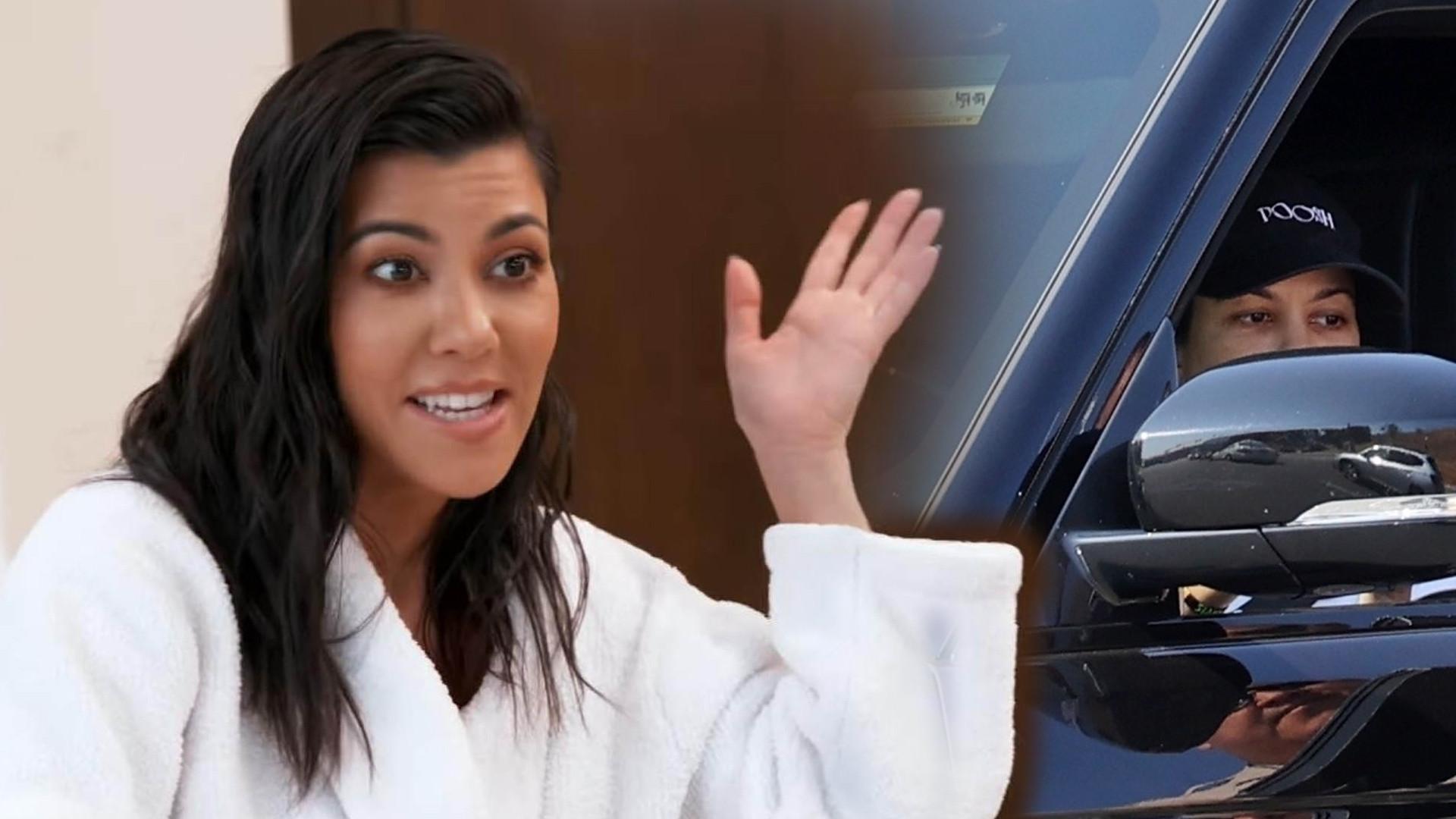 Kourtney Kardashian prowadzi samochód. Spotkała ją NIEMIŁA niespodzianka