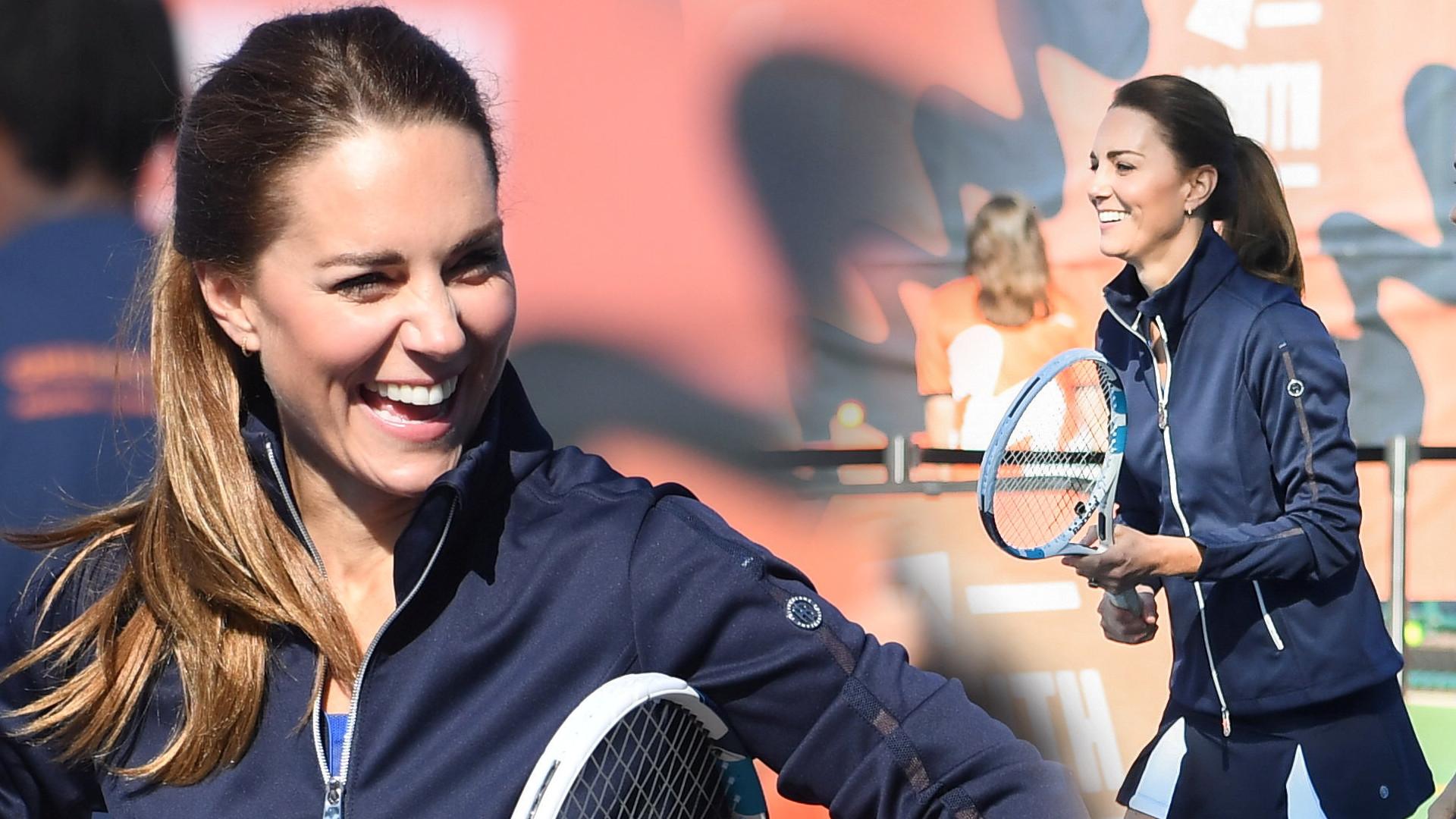 Co za nogi! Księżna Kate w szortach gra w tenisa z mistrzynią US Open (ZDJĘCIA)