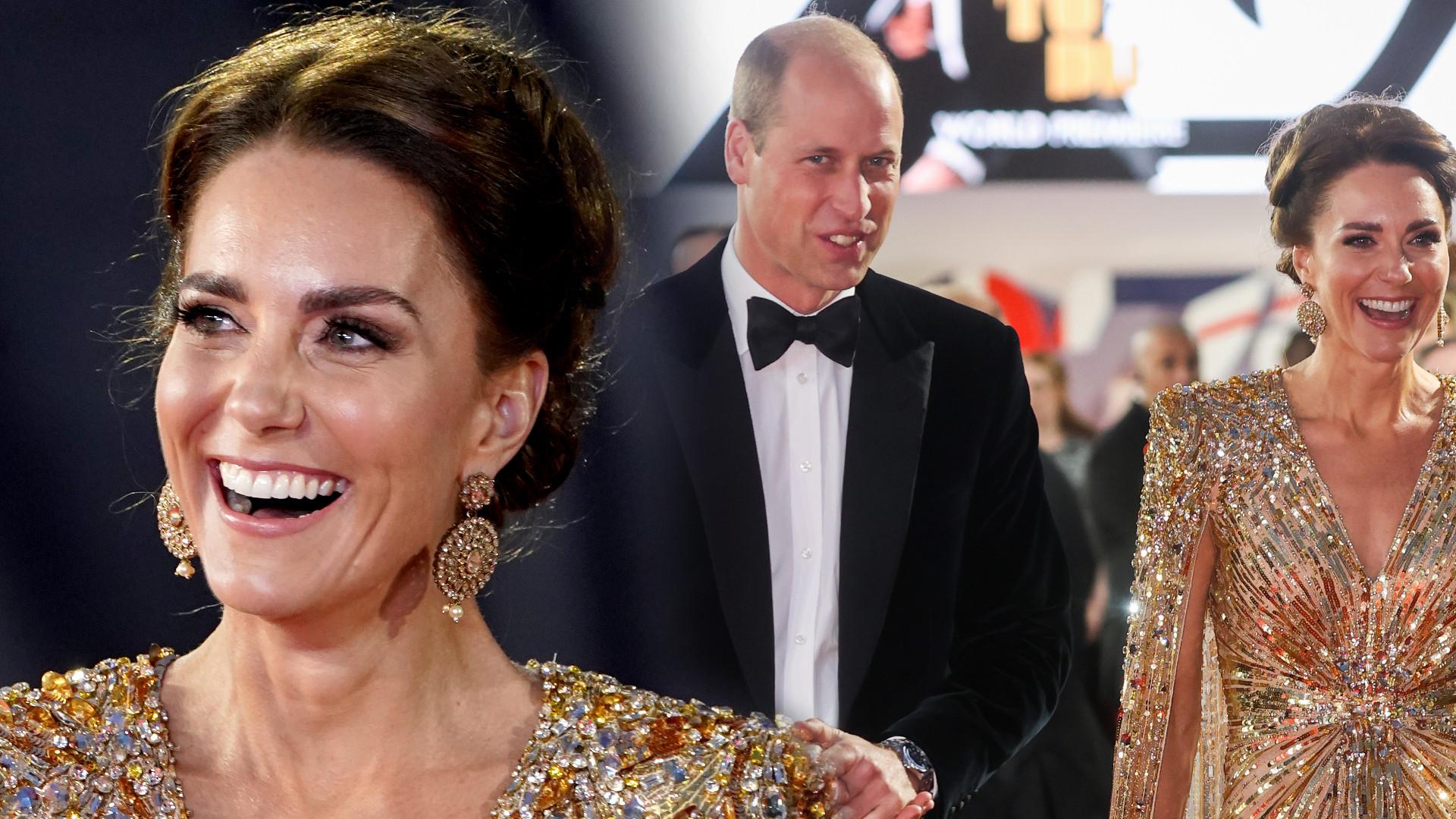Kate i William na premierze Jamesa Bonda. Księżna w zjawiskowej, złotej sukni (ZDJĘCIA)